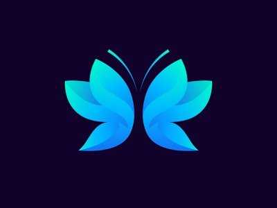 Butterfly illustration brand identity gradient logo insects butterflies butterfly butterfly logo design branding blue