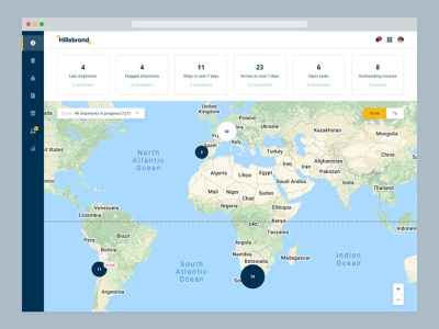 Shipment dashboard shipping company shipping container orders shipping freight map shipments hillebrand dashboard myhillebrand