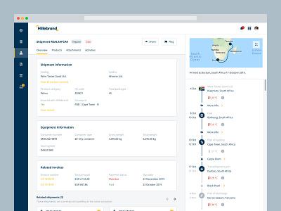 Shipment details order management transport freight freight forwarding map timeline hillebrand details page details myhillebrand
