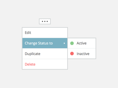 Context Menu context menu dropdown select status active inactive options