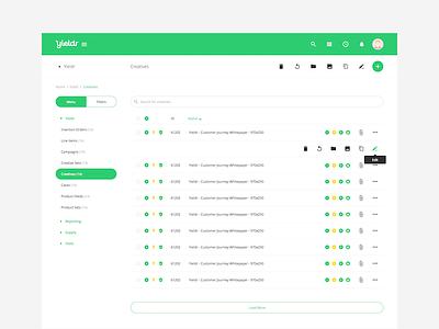 Listing Refresh index material design icons advertiser toggle listview enterprise platform web app green refresh listing
