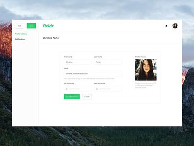 User Profile settings password dashboard editor profile user