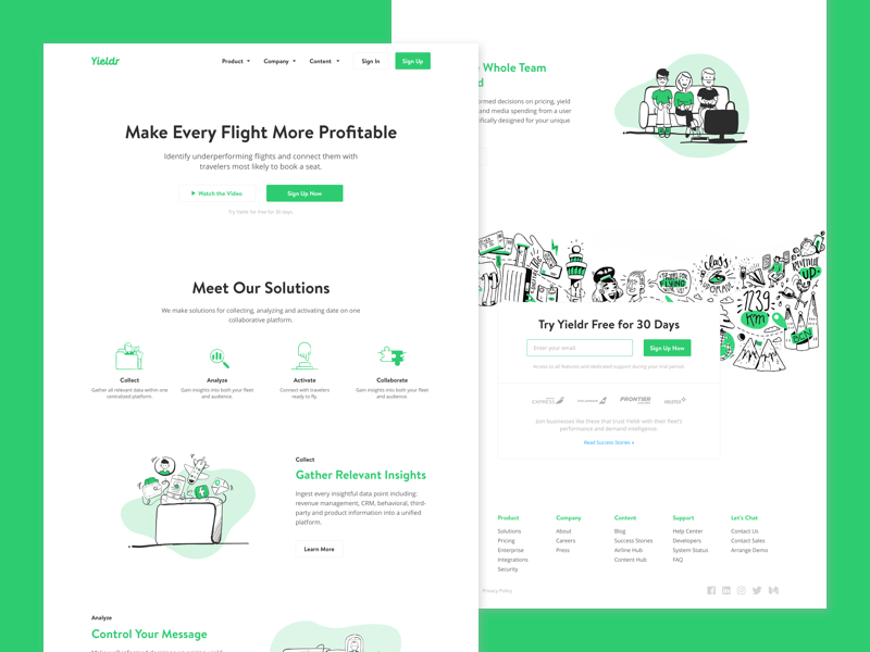 Homepage for Demand Intelligence mural icons illustrations yieldr website