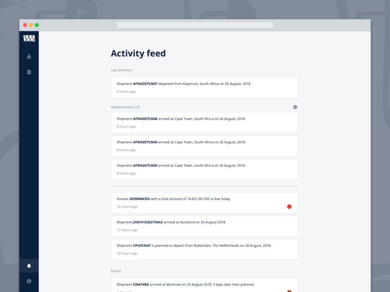 Activity Feed notifications jf hillebrand myhillebrand activity monitor activity disruptions events timeline activity feed