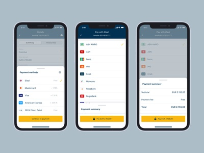 Online payments on iOS invoice invoicing bottom sheet checkout online payments payments myhillebrand