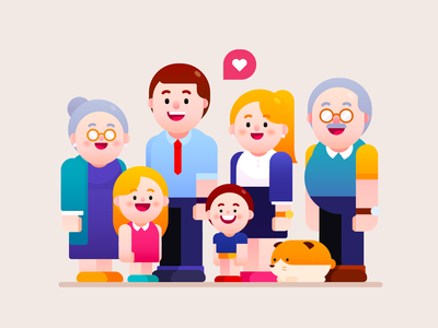 Lovely big family freepik graphic group businessman people kids grandparents parents home life happiness happy life happy family family design mascot visual design vector illustration character