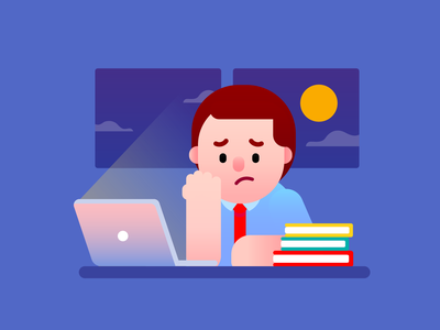 Working hard busy hard work sad problem computing laptop graphic office work financial business stressed working freepik design businessman mascot visual design vector illustration character