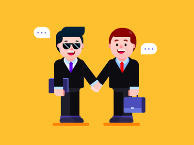 Make the deal! customer welcome connection contract offer handshake hiring partner deal negotiation business graphic freepik design businessman mascot visual design vector illustration character