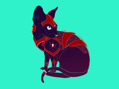 Warrior Cat fantasy color cat illustration