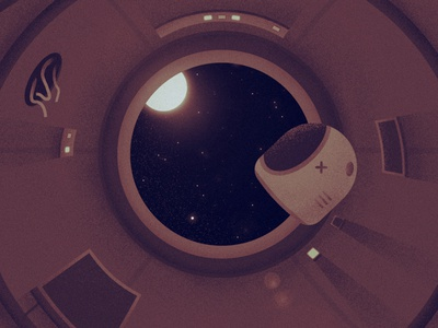 Lost In Space night grain helmet animation planet sun stars flat illustrator space vector
