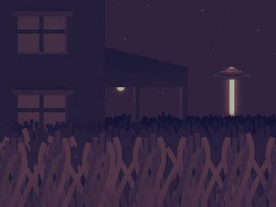 UFO animation night lazer farm illustration ufo