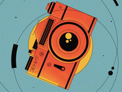 Zenith 2d photoshop zenith ussr camera soviet graphicdesign design vector illustration flat