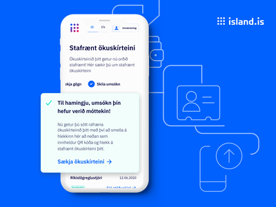 Icelandic driving licences are now digital! uidesign iceland wallet island.is blue ui drivinglicense digital