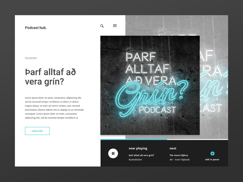 podcast hub add new ux design desktop application ui elements uidesign player ui player podcast
