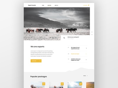 Traveling with experts divider section iceland ux design uidesign cards design favourites mountains table design search box yellow travel agency