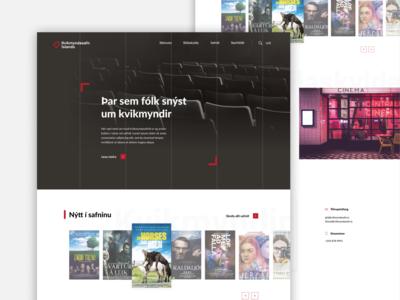 Icelandic movie museum photography cinemagraph dark mode webdesign museum cinema