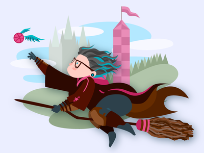 Hello, Dribbble broom hogwarts quidditch golden snitch debut vector illustration harry potter