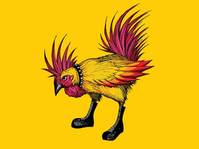Punk Rooster subversive boots feather rock digital painting illustration punk rooster