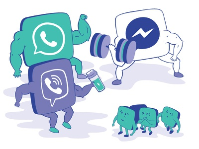 The growth of messaging apps chat bubble vector conversation chatbot illustration viber messenger whatsapp app message