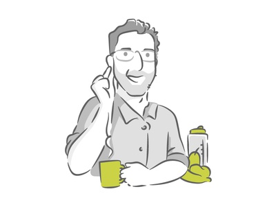 Team Member Illustration - Javier // Mobsuite boy coffee glasses vegetables veggies freelance homeoffice music mobile chat illustration cartoon office team team member vector green marketing staff company