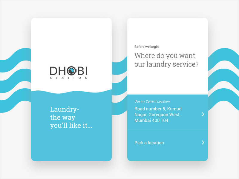 Laundry App ui app blue wave minimalist design clean wash splash screen on-boarding laudry laundromat design