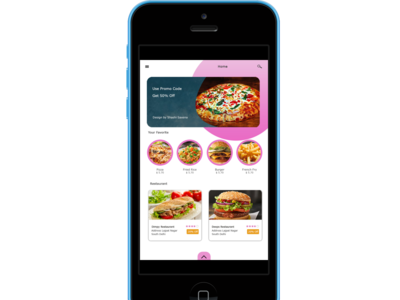 food app design iphone5c blue portrait