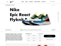 """Nike - webpage concept - Nike Epic React Flyknit """"Belgium"""" uidesign webdesign sketch nike belgium"""