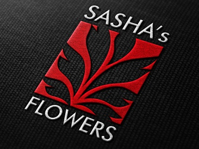 Sasha's flowers logo red stitched identity flowers logo branding