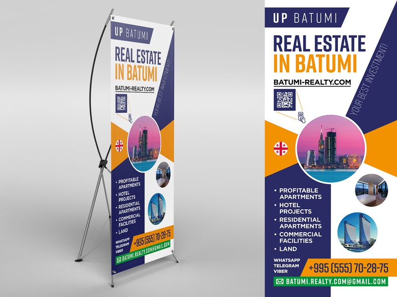Roll-up for travel company print design vertical banner design travel rollup