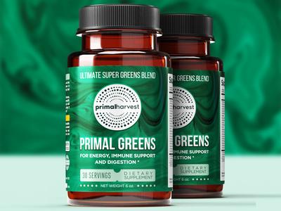 Primal Greens Label amazon design typography label design package label