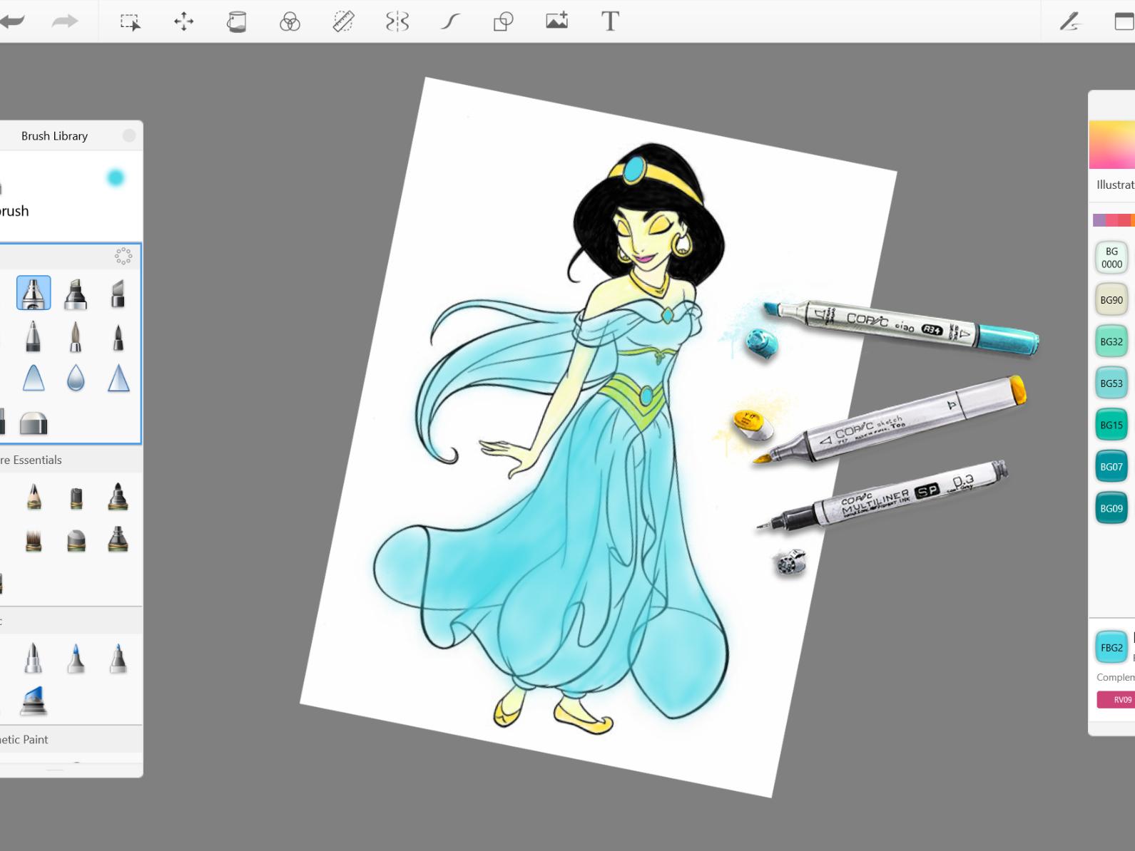 Free #copic colors brushes set disney jasmine pallette colors brushes copic marker copic free