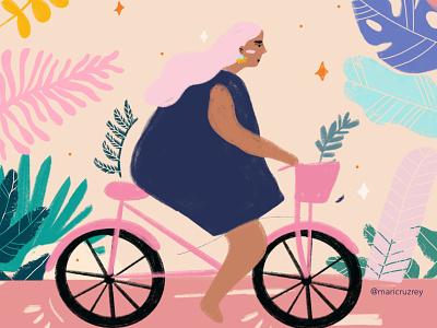 Cool girl on a Bike illustrator graphic bike flowers graphic design doodle procreate girl colorfull illustration