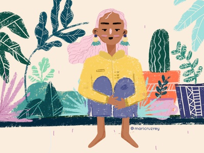 Raining fall doodle cool colors procreate graphic design illustrator girl flowers illustration