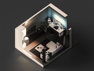 Isometric Living Space model modeling lighting global illumination gi isometric cgi cg 3d render cinema 4d c4d