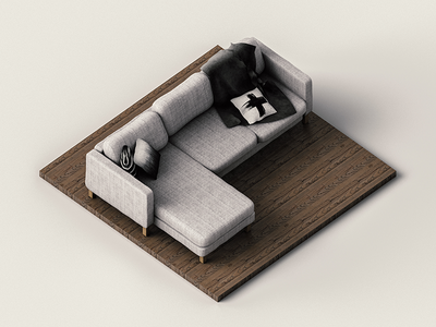 Isometric Couch isometric cgi cg fabric couch cinema 4d c4d render