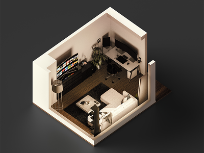 Isometric Living Space Sunlight