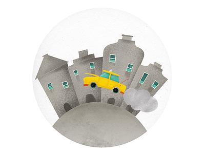 Crazy Taxi buildings taxi illustration
