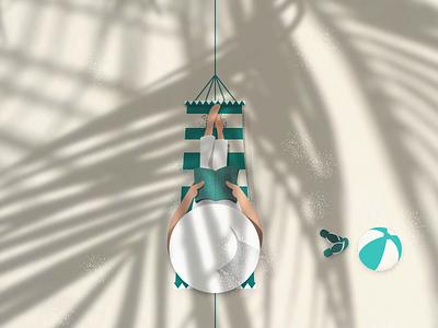 can't wait till summer... palm tree beach summer illustration