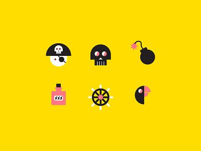 Pirates parrot skull pirate textile society6 print pattern design illustration identity iconography icon background