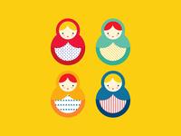 Matryoshka character design vector illustrator matrioshka nesting doll doll russian doll matryoshka illustration