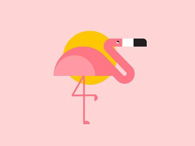 Flamingo pink summer sun palm leaves bird flamingo vector illustrator textile society6 print pattern background design illustration