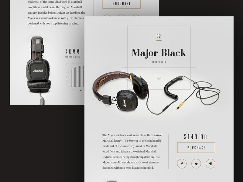 Marshall Major Black Headphones Design Concept ui web layout mockup grid marketing flat clean graph data typography