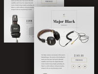 Marshall Major Black Headphones Design Concept