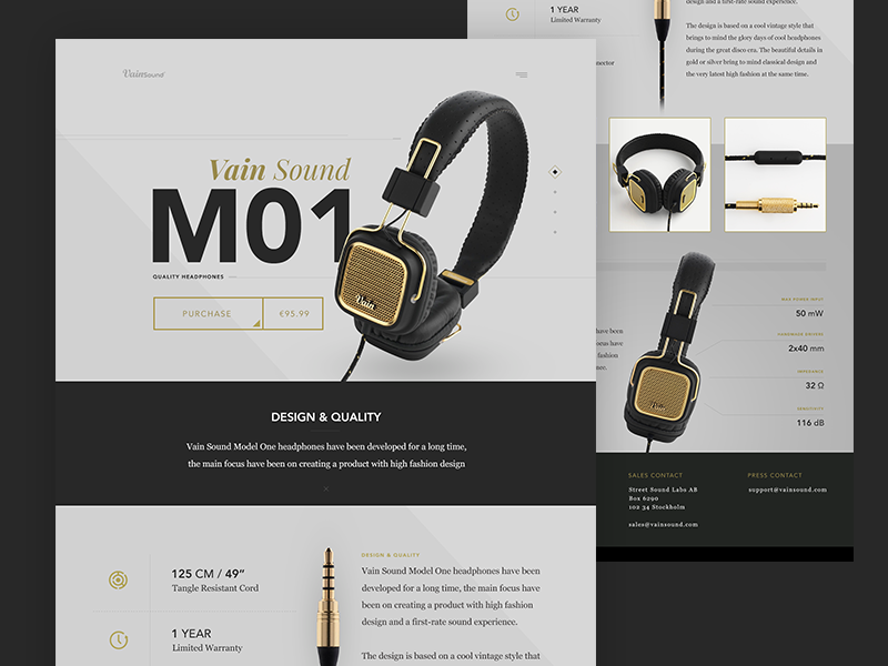 Vain Sound Model One Product Page ui web layout mockup grid marketing flat clean graph data typography