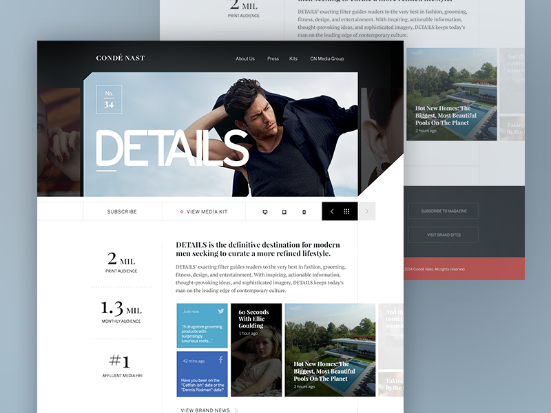 Details Corporate Product Page ui web layout mockup grid marketing flat clean graph data typography magazine