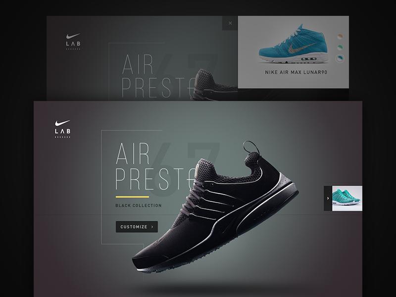 Nike Labs Air Presto ui web layout mockup grid marketing flat clean nike data typography
