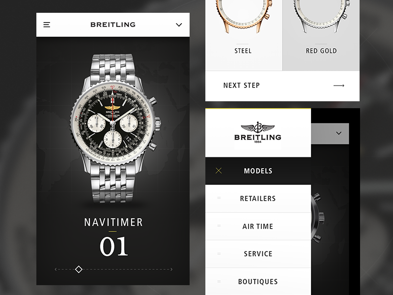 Breitling Navitimer Mock ui ios watch graph data clean layout app flow