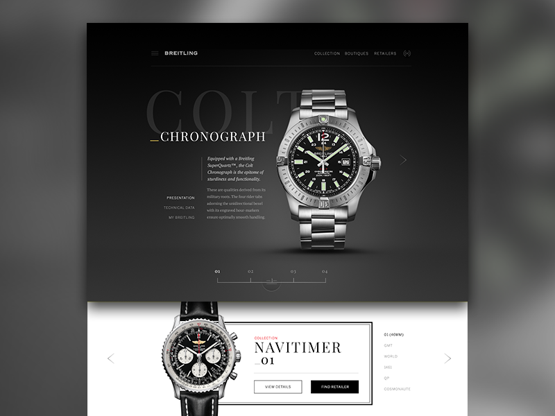 Breitling Product Mock ui web layout mockup grid marketing flat clean graph data typography