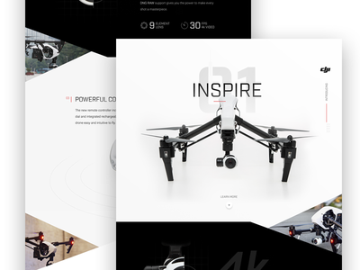 Inspire 1 Drone Marketing Site  drone grid marketing product mockup layout graph ui