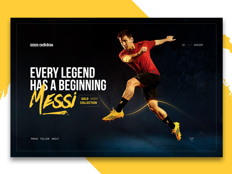 Adidas Messi Collection shoes soccer grid marketing mockup layout ux ui
